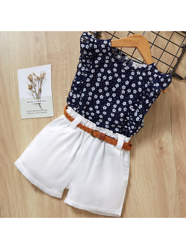 【2Y-9Y】Girl Sweet Blue Flower Pattern Ruffled Vest And White Shorts Set