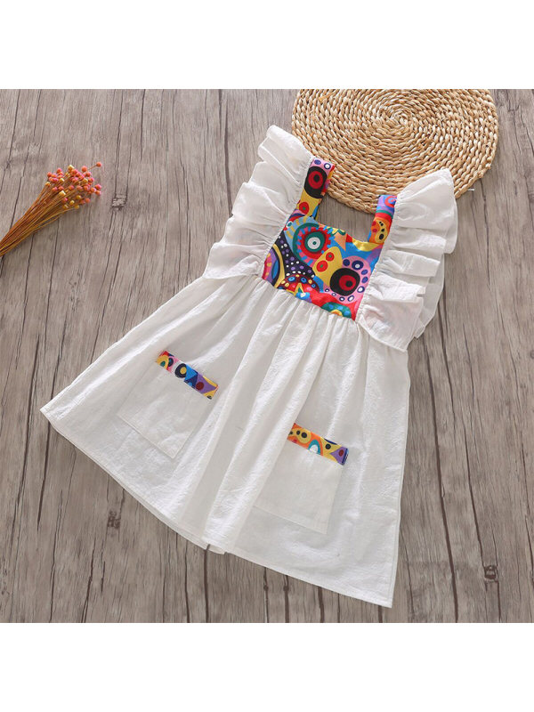 【18M-7Y】Girls Sleeveless Stitching Dress