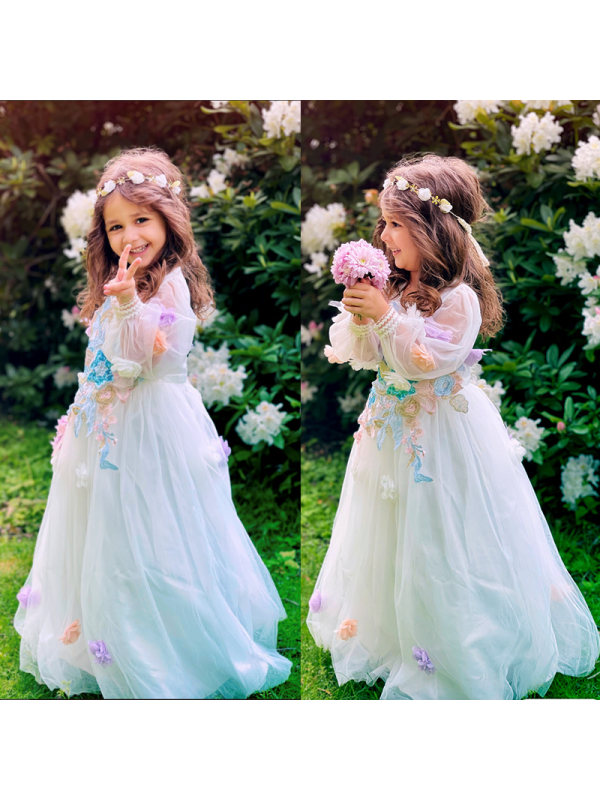 【2Y-11Y】Girls Sweet Puffy Long-sleeved Embroidered Dress - 3388