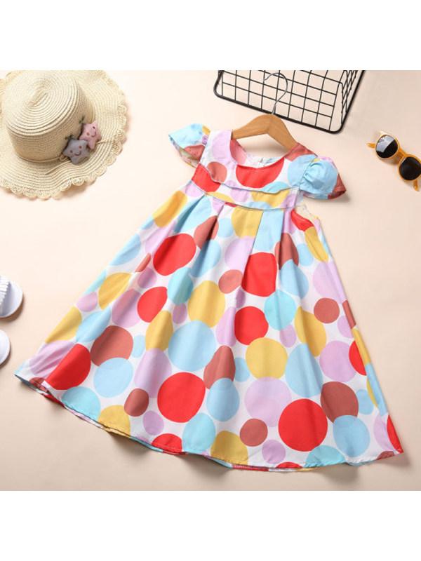 【18M-7Y】Girls Rainbow Polka Dot Dress