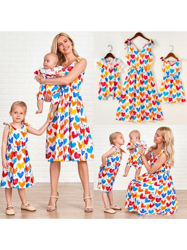 Sweet Colorful Heart-shaped Print Mom Girl Matching Dress