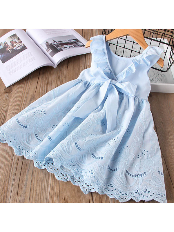 【18M-7Y】Girl Sweet Hollow Embroidered Sleeveless Dress - 3385