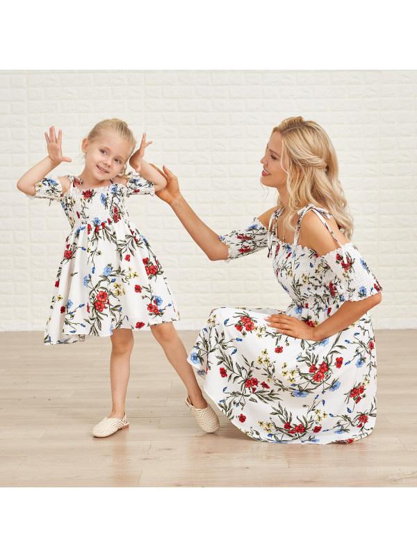 Flower Print White Off Shoulder Mom Girl Matching Dress - 1355
