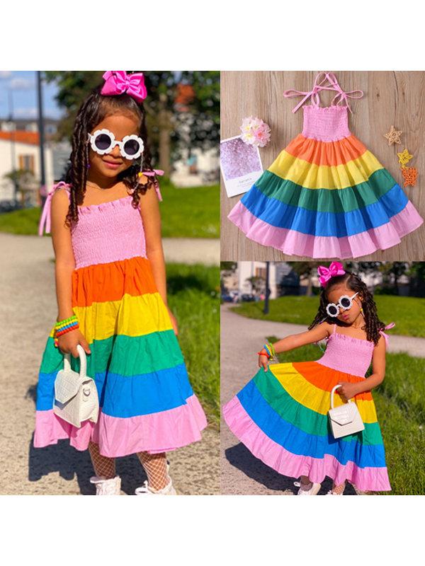 【2Y-9Y】Cute Rainbow Sling Dress