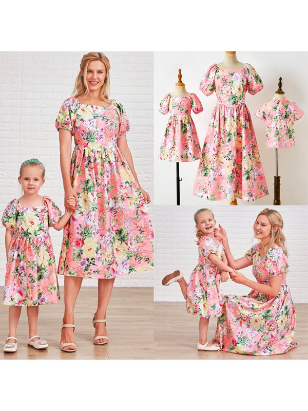 Flower Printed Puff Sleeve Pink Dress and Shirt Family Matching Outfits
