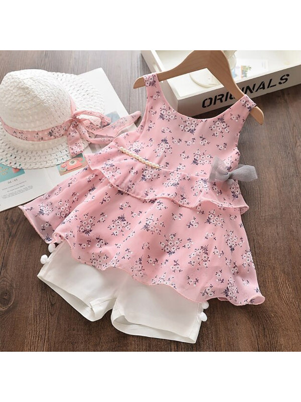 【18M-7Y】Girls Chiffon Print Skirt Shorts Suit with Hat