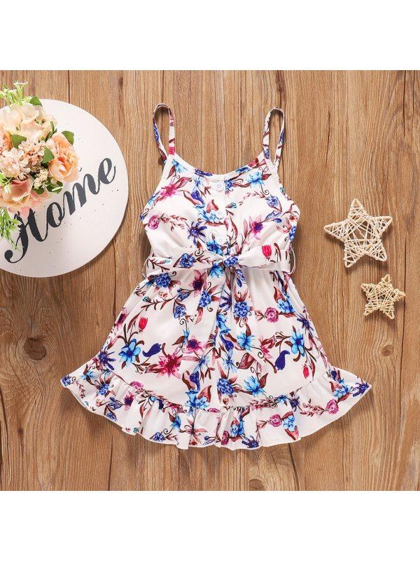 【18M-6Y】Girls Fresh Sweet Flower Print Camisole Dress