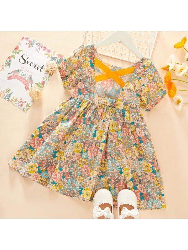 【18M-7Y】Girls Floral Back Ribbon Puff Sleeve Dress - 3374