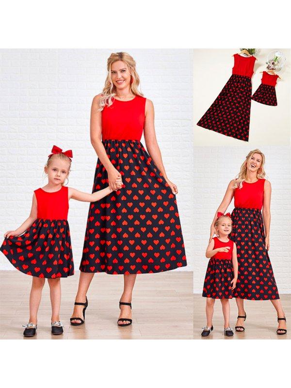 Red Heart Pattern Sleeveless Maxi Mom Girl Matching Dress