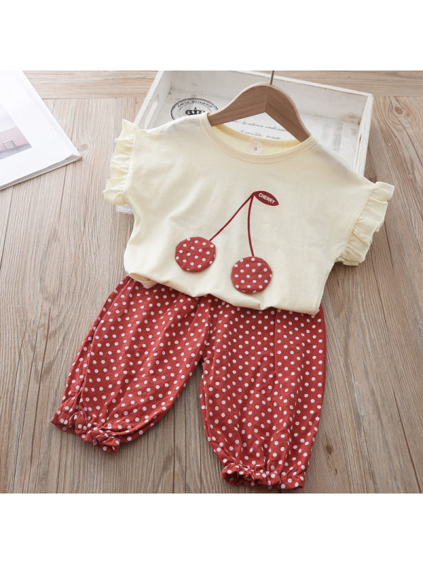 【12M-4Y】Girls Cute Casual Cherry Top Polka Dot Shorts Suit