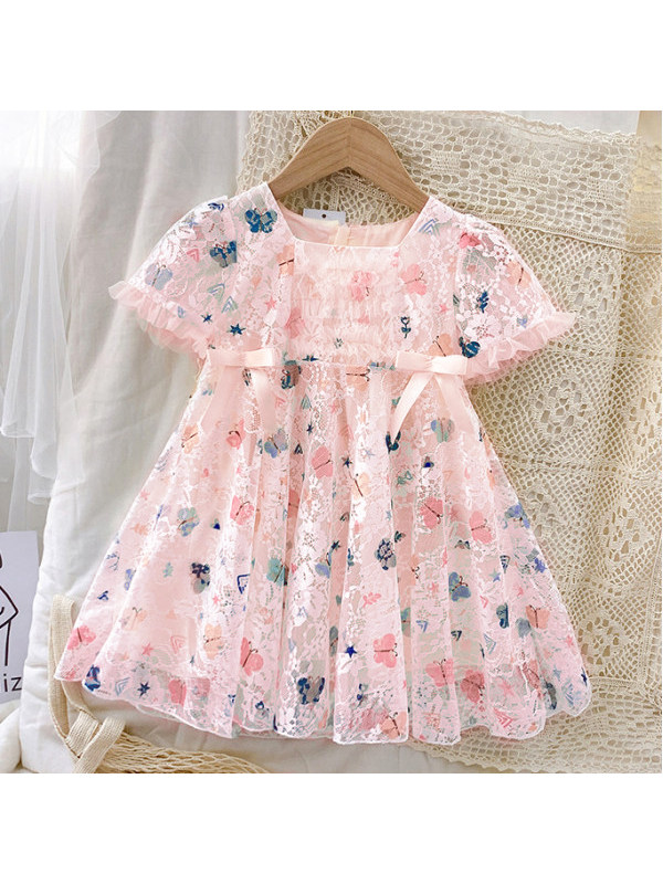 【18M-7Y】Sweet Butterfly Print Round Neck Short Sleeve Lace Dress