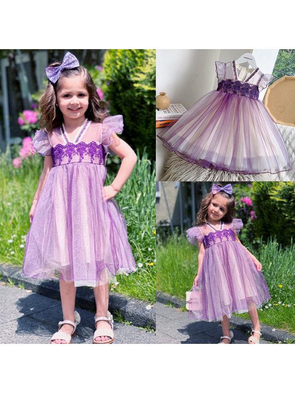【2Y-11Y】Girls Sweet Retro Embroidered Mesh Sleeveless Dress - 3371