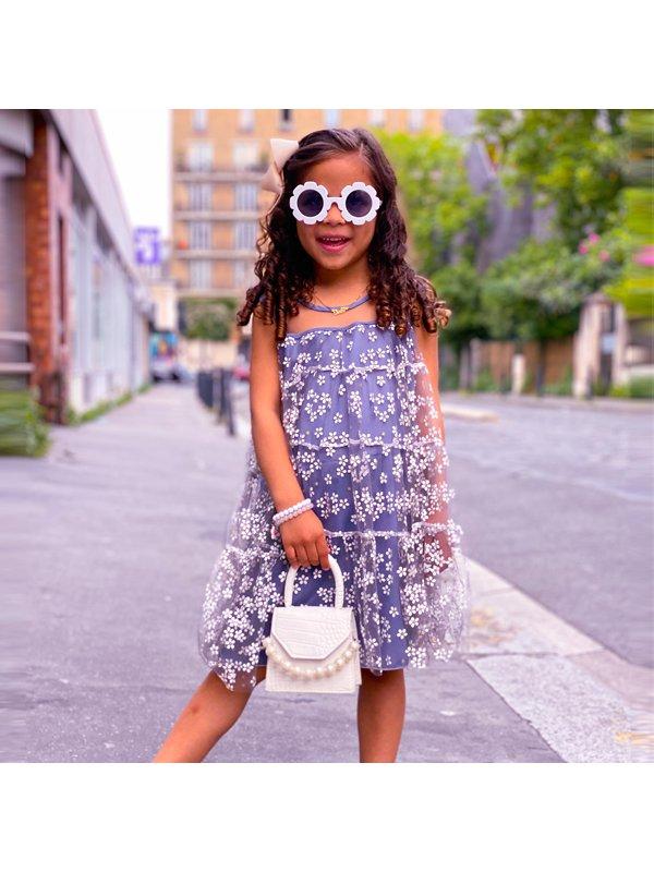 【18M-7Y】Girls Sweet Floral Mesh Sleeveless Dress - 3340