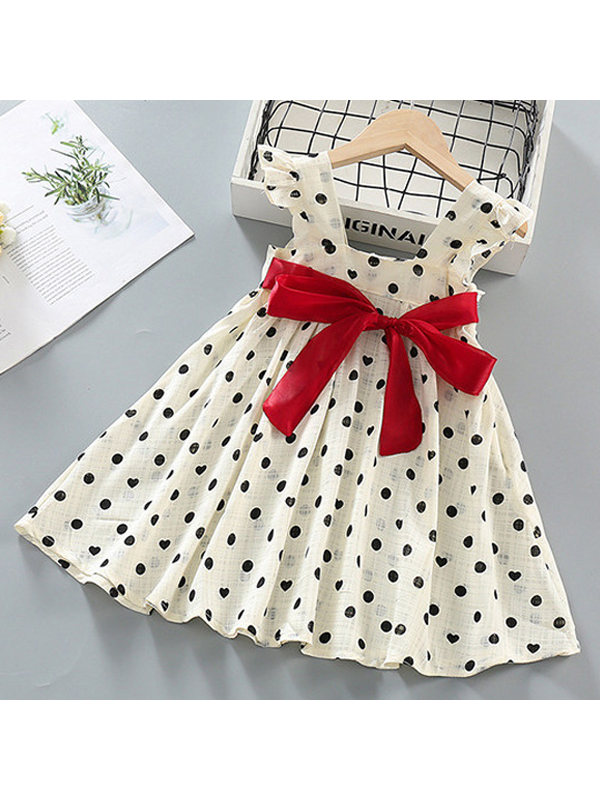 【18M-9Y】Girls Chiffon Polka Dot Bowknot Vest Dress - 33118