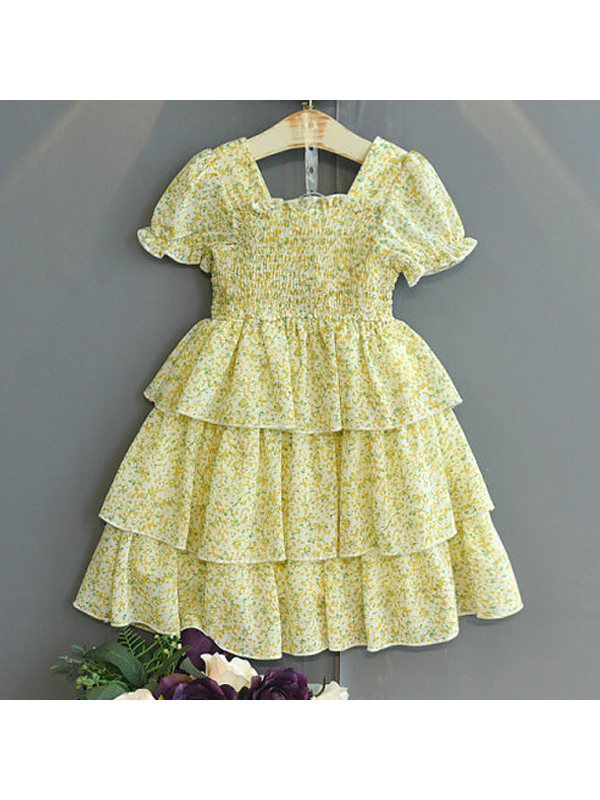 【18M-7Y】Children's Short-sleeved Small Floral Skirt