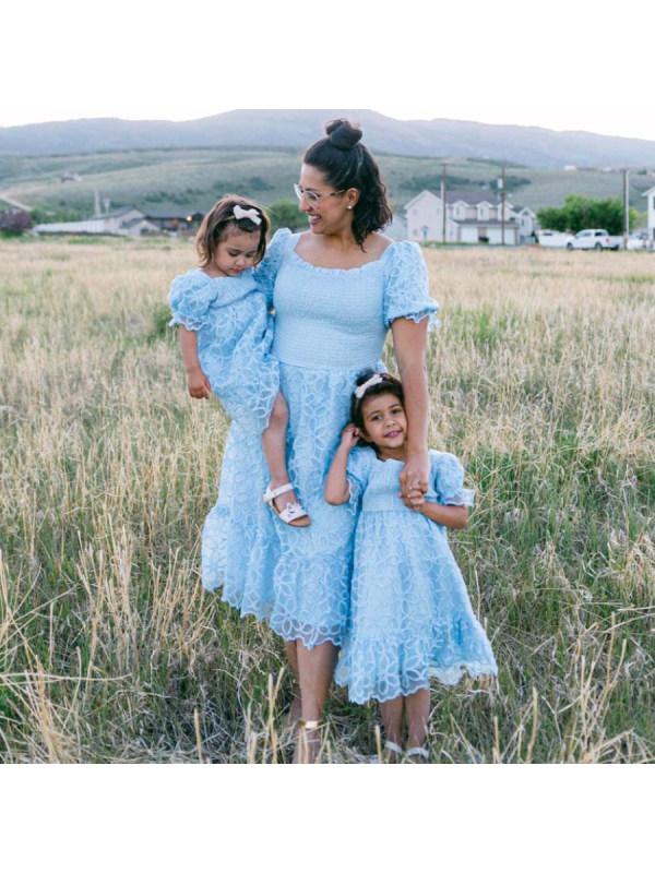 Sweet Blue Lace Puff Sleeve Mom Girl Dress - 1316