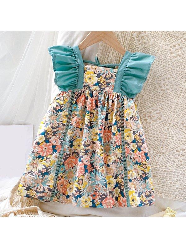 【18M-7Y】Sweet Flower Print Ruffle Sleeve Dress