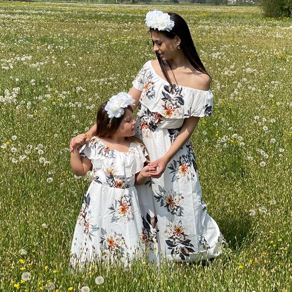 Floral Style Off Shoulder Mom Girl Matching Dress