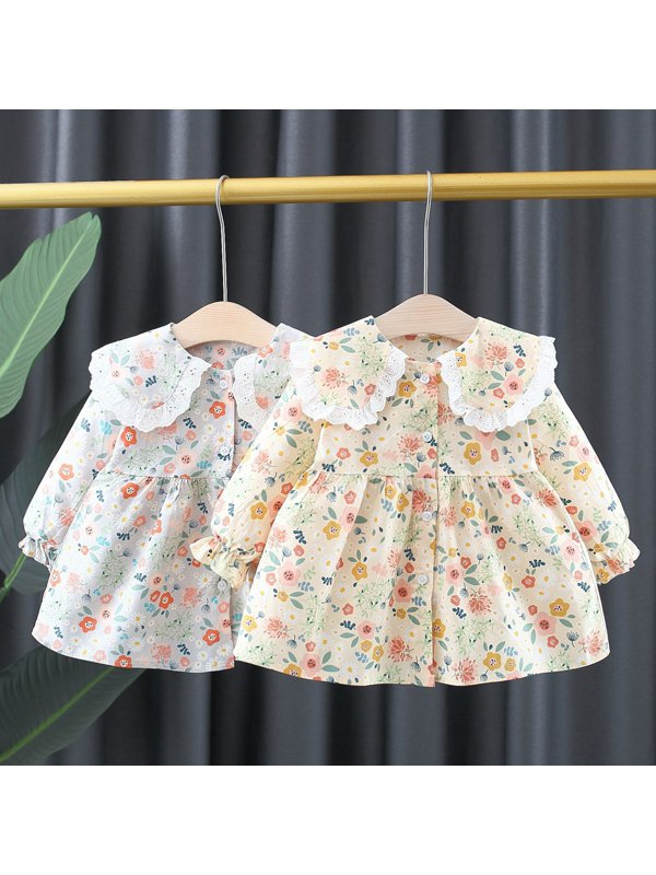 【12M-4Y】Girls' Floral Lace Lapel Long-sleeved Dress