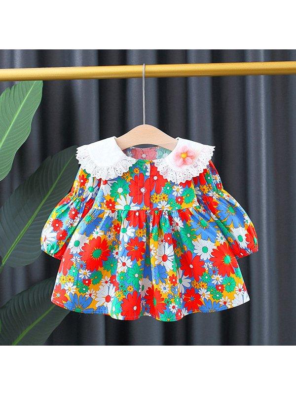 【12M-4Y】Girls Puff Sleeve Lace Collar Long Sleeve Princess Dress