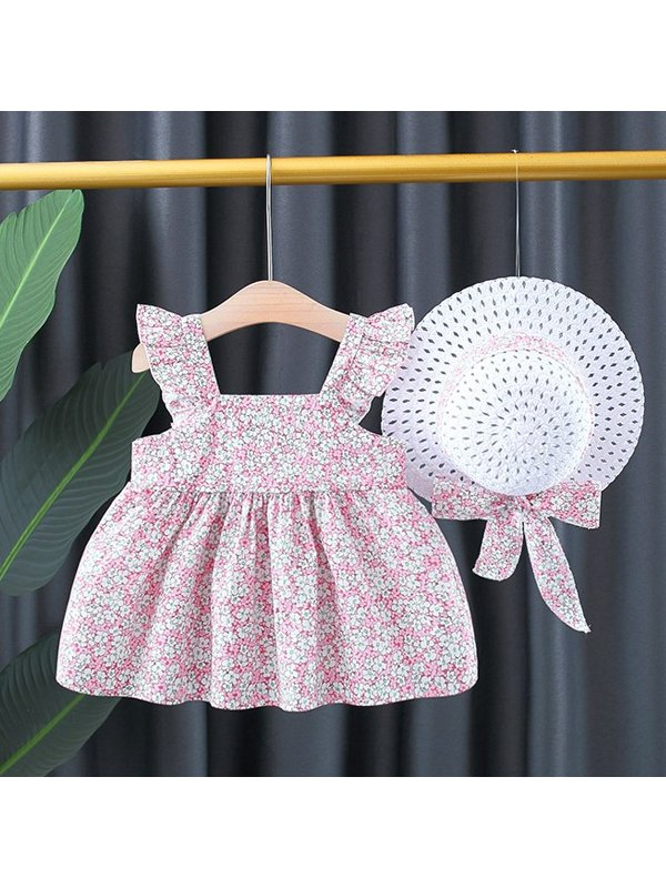 【12M-4Y】Girls Floral Flying Sleeve Dress Back Small Wings Dress With Hat