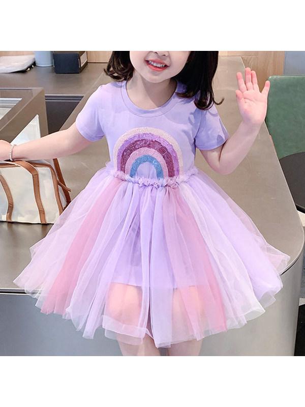 【18M-7Y】Sweet Rainbow Print Mesh Dress - 3394