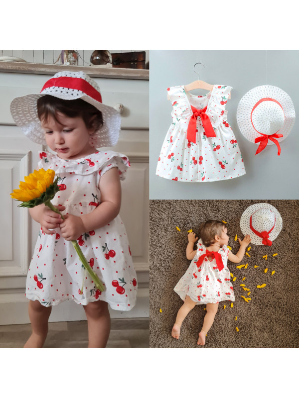 【12M-4Y】Girls Cherry Print Lace Up Sleeveless Dress with Matching Hat - 3395