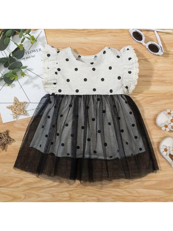 【9M-3Y】Girls Lace Polka Dot Dress