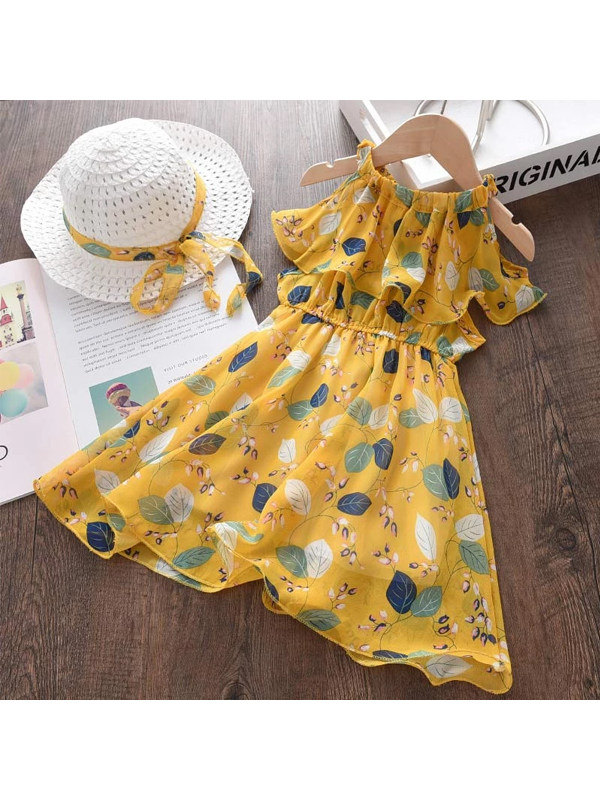 【18M-7Y】Girls Summer Chiffon Vacation Bohemian Dress Skirt Send Hat