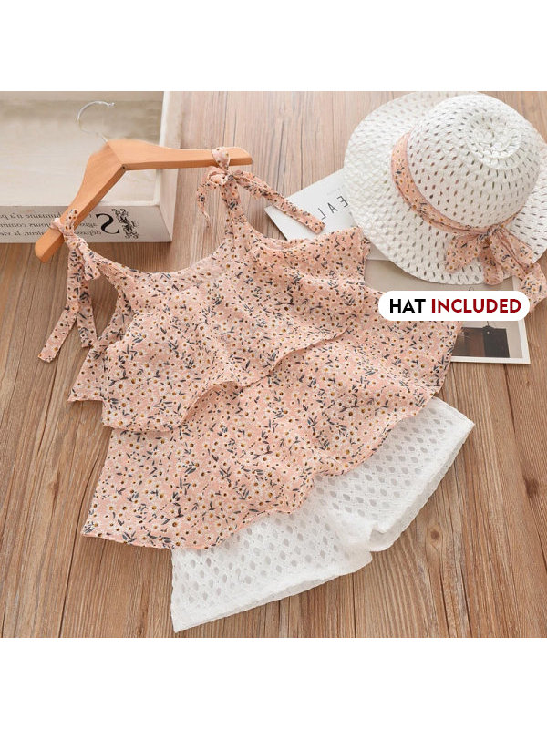 【18M-7Y】Girls Sweet Floral Chiffon Vest Lace Shorts Set With Hat - 3432