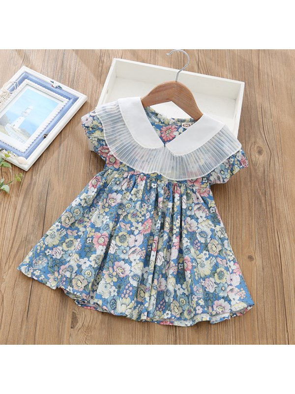 【18M-9Y】Girls Big Lapel Puff Sleeve Floral Dress