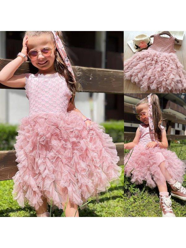 【2Y-9Y】Girls' Round Neck Sleeveless Princess Puffy Dress