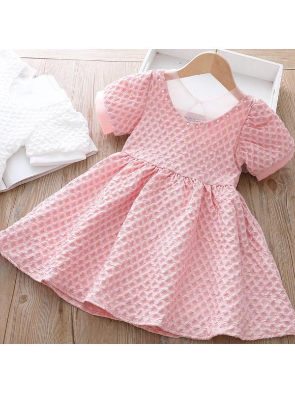 【18M-7Y】Sweet Bow Puff Sleeve Dress