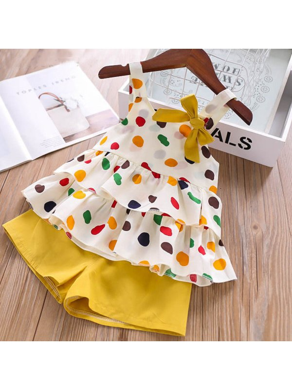 【18M-7Y】Girls Print Top Shorts Two Piece Set - 3434