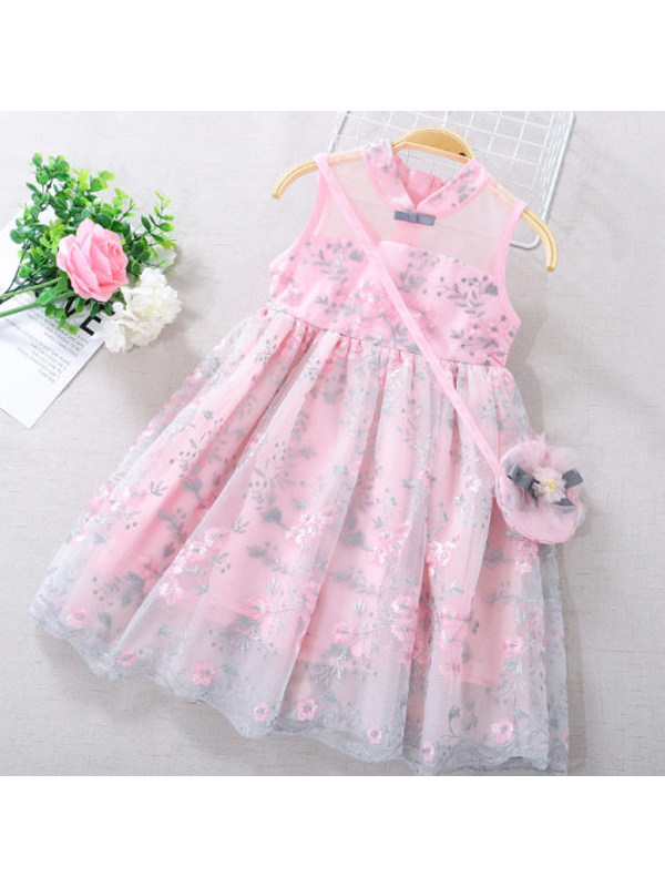 【3Y-11Y】Girls Sleeveless Embroidered Puffy Mesh Dress