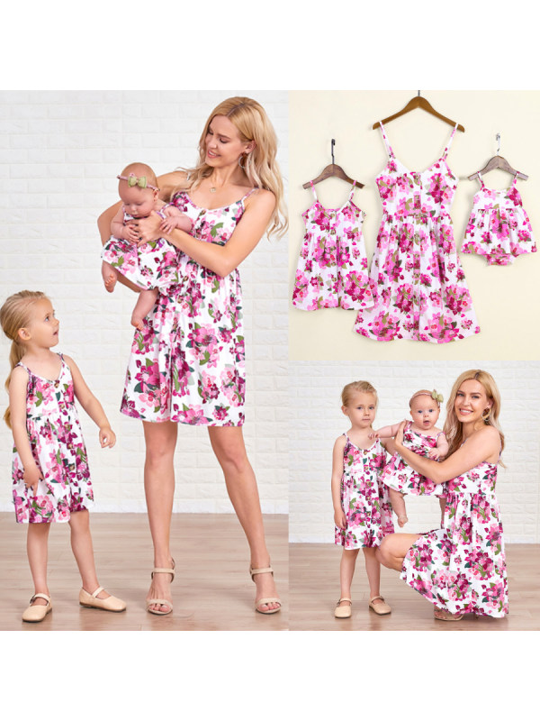 Allover Flower Print Mom Girl Matching Outfits