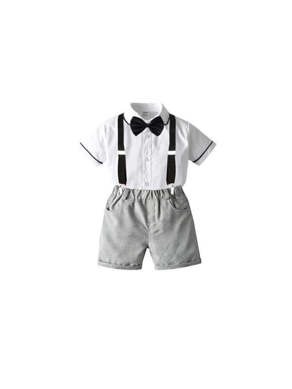 【12M-7Y】Children's College Style Short-sleeved Shirt Gentleman Bow Tie Bib Suit
