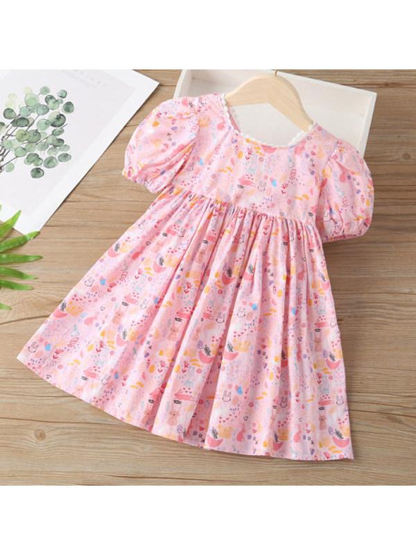 【18M-9Y】Girls V-neck Puff Sleeve Cartoon Print Dress