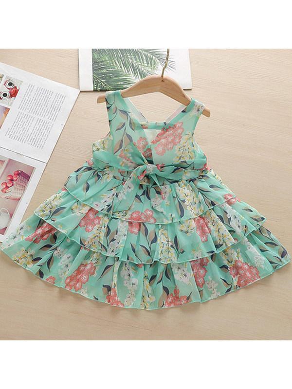 【18M-7Y】Girls V-neck Sleeveless Dress
