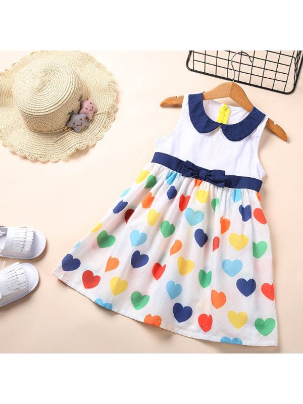 【18M-7Y】Girls Love Print Bow Zipper Sleeveless Dress