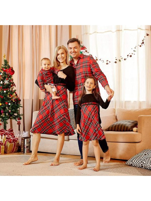 Casual Red Plaid Long Sleeved Shirt and Dress Family Matching Outfits