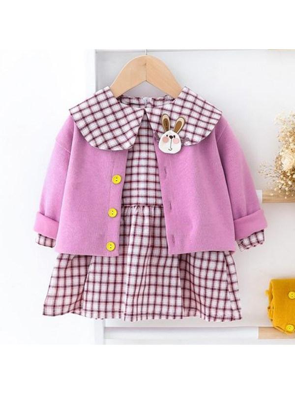【6M-4Y】Girls Cute Plaid Dress Two-Piece Set