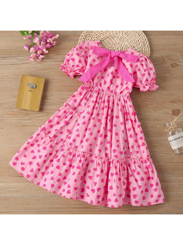【3Y-13Y】Girls Love Print Short-sleeved Dress