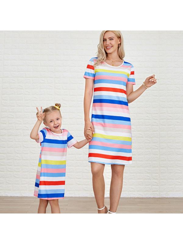 Fashion Colorful Striped Round Neck Mom Girl Matching Dress