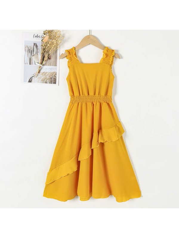 【4Y-15Y】Girls Square Neck Pleated Solid Color Dress