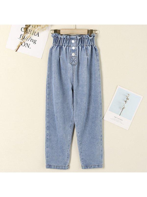 【3Y-15Y】Girls Bud High Waist Denim Trousers
