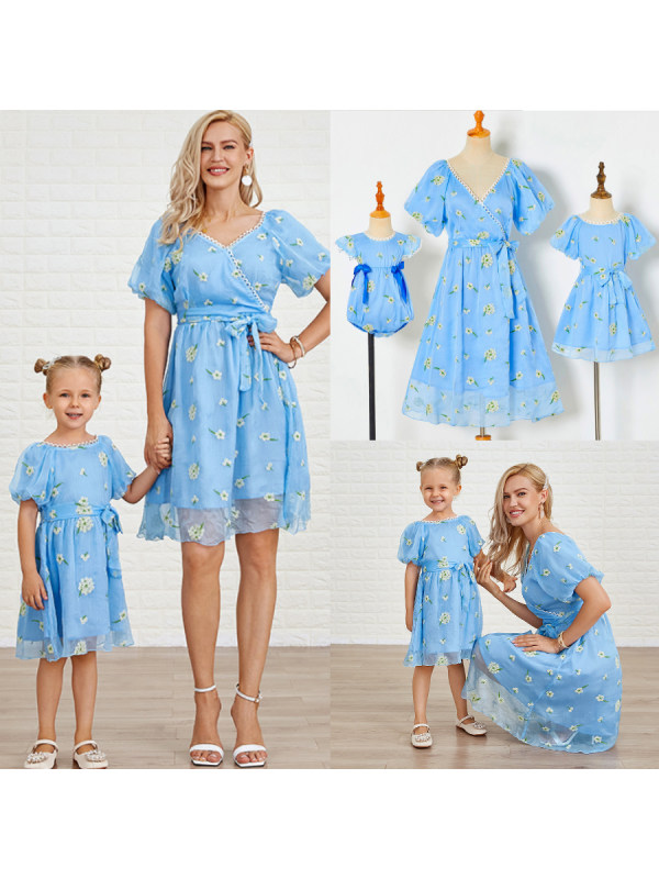 Sweet Blue Embroidered Puff Sleeve Mom Girl Matching Dress