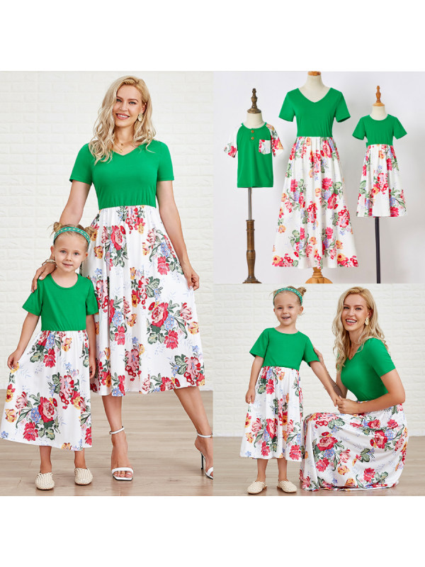 Casual Green Flower Short-sleeved Family Matching Outfits