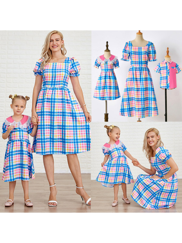 Casual Plaid Short-Sleeved Mom Kid Matching Outfits