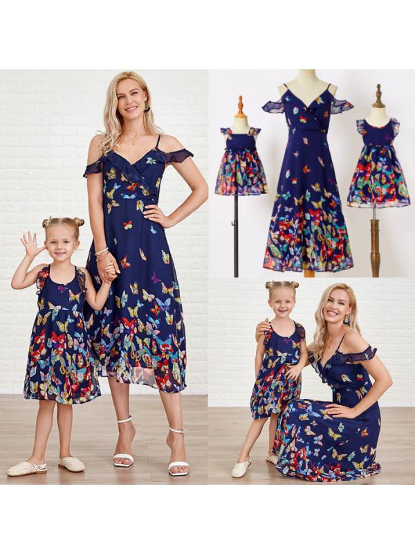 Sweet Dark Blue Butterfly Print Mom Girl Baby Matching Dress